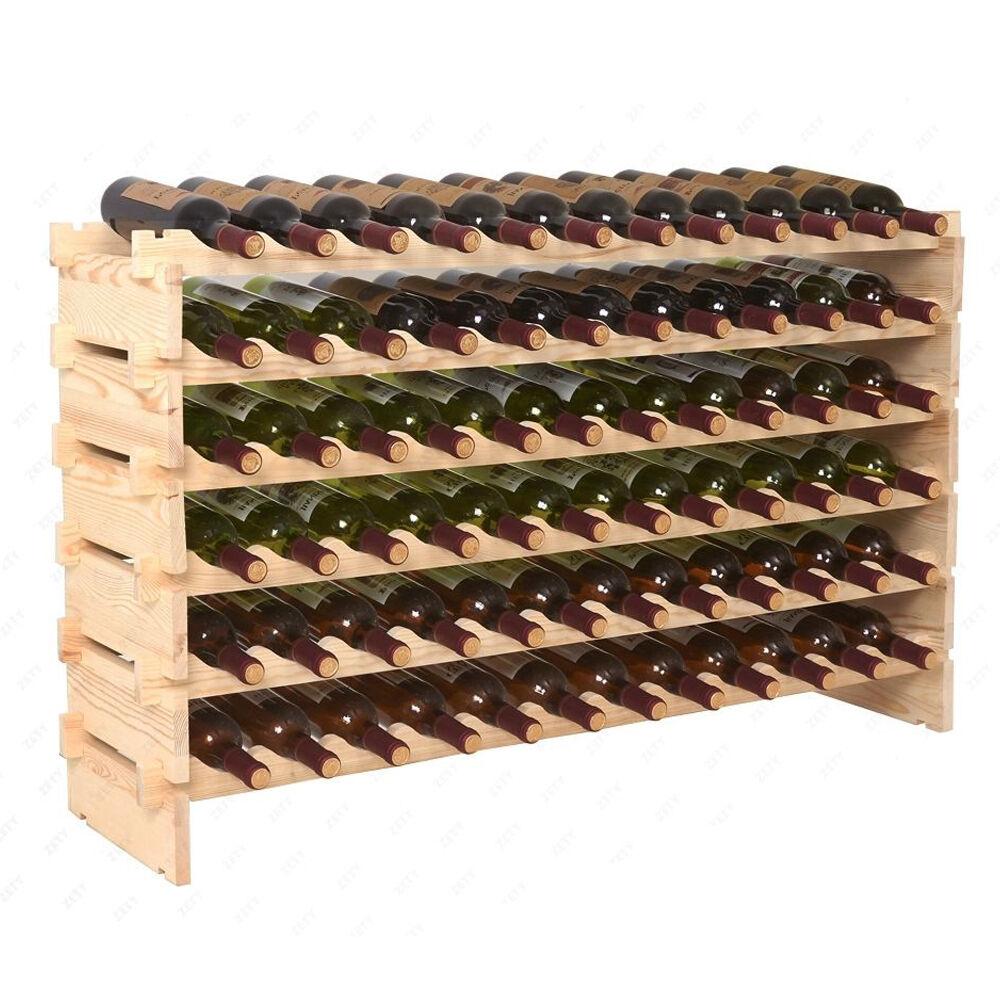 72 Bottles Wine Rack Stackable Storage 6 Tier Solid Wood Display Shelves Holder