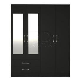 Beatrice 4 door 2 drawer mirrored wardrobe black finish