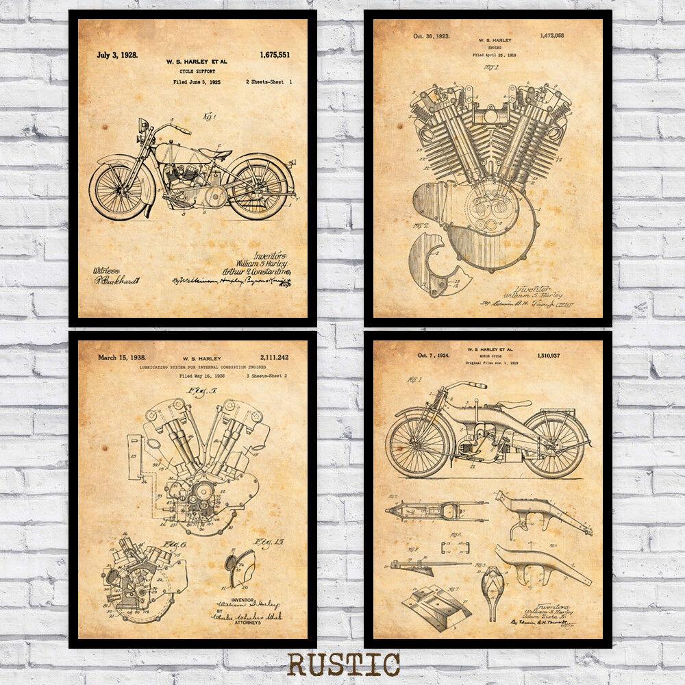 Vintage Harley Davidson patents four-pack - wall art prints (w/ optional frames)