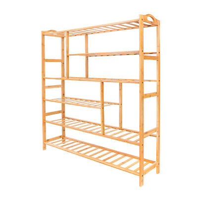 6 Tiers Bamboo Shoe Boot Shelf Holder Storage Rack Organizer Furniture Entryway