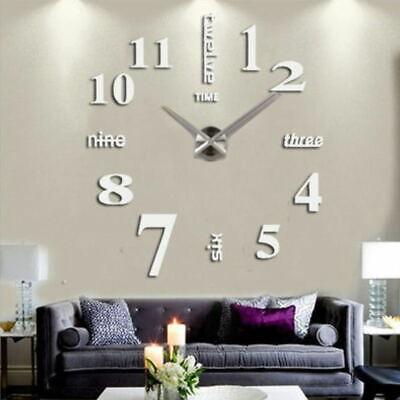 Home Decoration - 3D Stick-on Large Wall Clock DIY Mirror Sticker Surface Home Decor Art Design