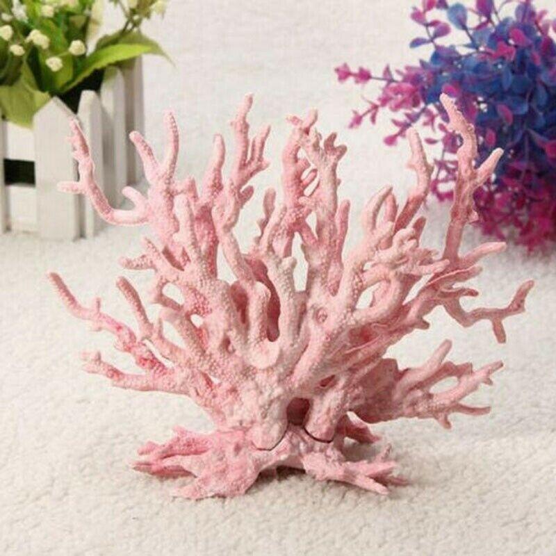 Künstliche Koralle Hellrosa Fingerkoralle Aquarium Versteck Fisch Deko Neu DE