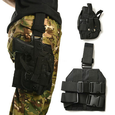 New Outdoor Tactical MOLLE Drop Leg Platform Panel W/ Holster Black AGPTEK