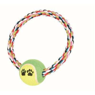 Trixie Denta Fun Rope Ring With Tennis Ball For Dog, 18 Cm, - Dog Toycm