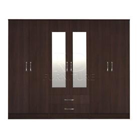 Cornwall model 4, 216m wide 6 door walnut wardrobe