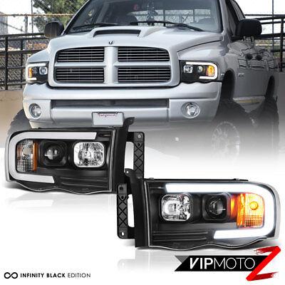 02-05 Dodge RAM Pickup 1500 2500 3500 Black LED Bar Neon DRL Projector Headlight