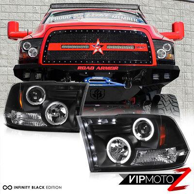 2009-2018 Dodge RAM 1500 2500 3500 Angel Eye Halo LED Projector Black Headlights