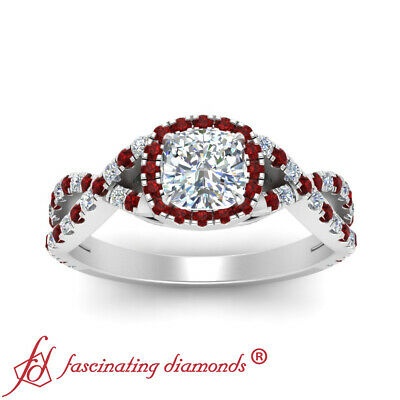 Twisted Halo Engagement Ring With 1 Carat Cushion Cut Diamond And Ruby Gemstone 2