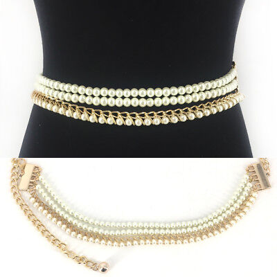 WOMEN Fashion Stretch Gold Metal Chain HIP WAIST Skinny Long Wide Pearl BELT
