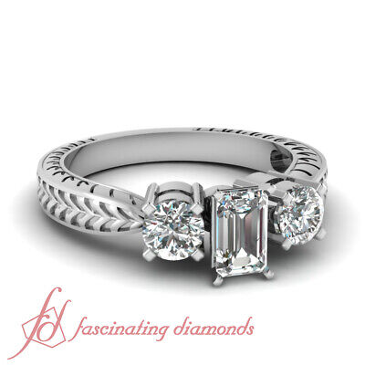 1 Carat Emerald Cut Diamond Engagement Rings-Customizable Ring Size D-Color GIA