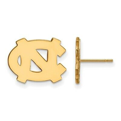 North Carolina Tar Heels School Letters Logo Post Earrings Gold Plated Silver