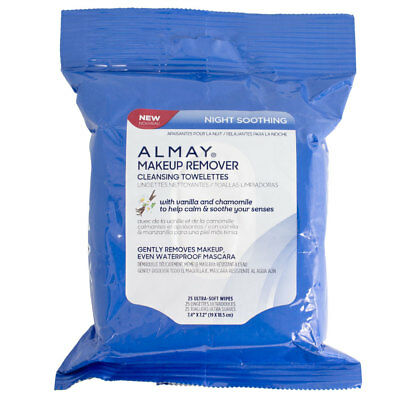 Almay Night Soothing Makeup Remover Cleansing Towelettes, 25 pack (Soothing Makeup Remover)