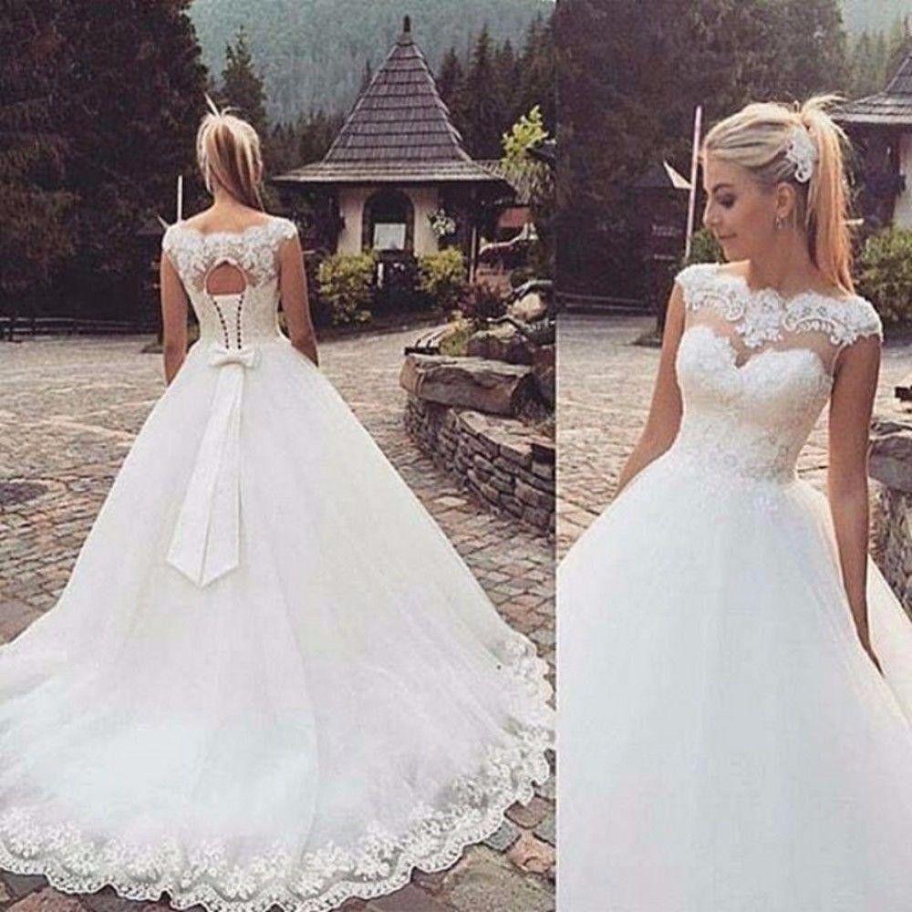 Neu Perle&Paillette Lace A-Linie Brautkleider Hochzeitskleid Lager Gr 32-+-52++