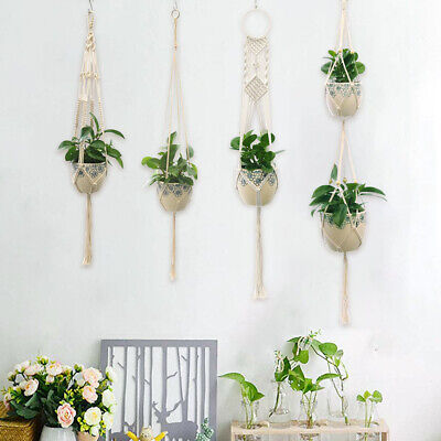 2 Pack Macrame Plant Hanger Hanging Planter Basket Flower Pot Holder Cotton Rope