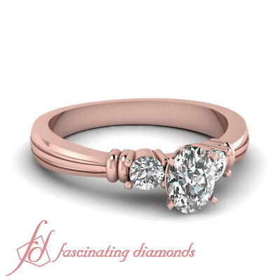 .90 Ct Oval Shaped Real Diamond Three Stone Engagement Ring In 14K Rose Gold GIA