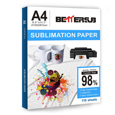 110 Sheets A4 Dye Sublimation Paper Heat Transfer Paper Mugs Cotton Polyester Us