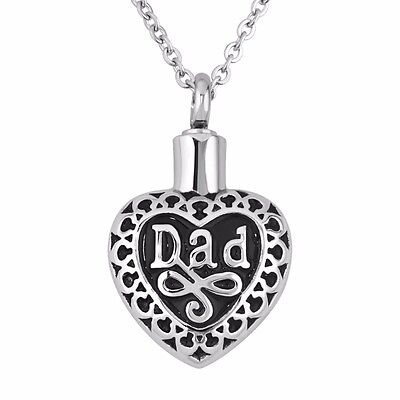Black Silver Heart Dad Stainless Steel Cremation Urn Pendant Necklace