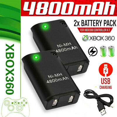 2X4800mAh Battery Pack + Charger Cable Xbox 360 Wireless Controller Rechargable for sale  Shipping to South Africa