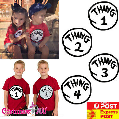 Kids Thing 1 Thing 2 Costume Tshirt Dr Seuss Book Week Child Boys Top T-Shirt - Thing 1 Costume Baby
