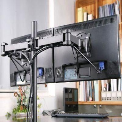 Double Arm Desk Mount - Dual Full Motion VESA Monitor Desk Mount Heavy Duty Double Arm Fits up to 27
