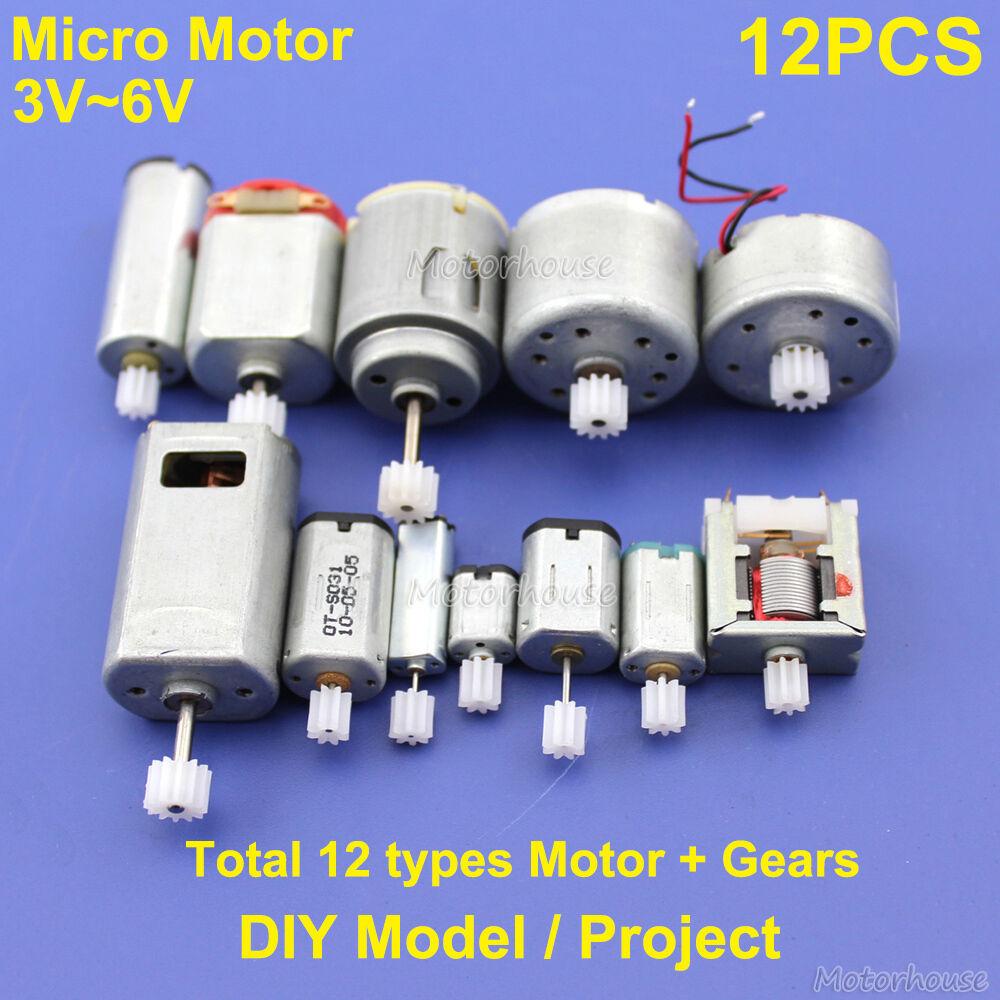 12pcs dc 3v 6v mini 130 micro dc motor gear round small for Dc motors car sales