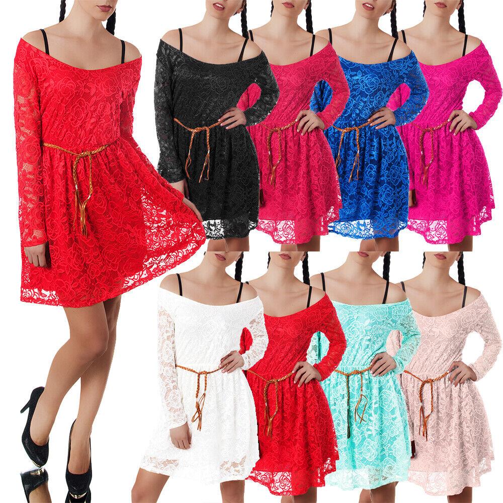 Damen Kleid Kleider Cocktailkleid Sommerkleid Abendkleid Ballkleid Spitze N848
