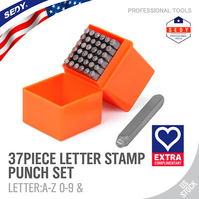 37 Pc 18 Steel Metal Punch Letter Number Stamp Stamping Kit Set With Case