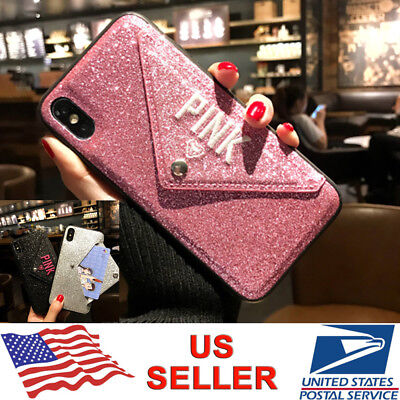 Bling Card Holder Envelope Wallet Case Cover For iPhone XS Max XR X 8 7 6s (Card Holder Case Cover)