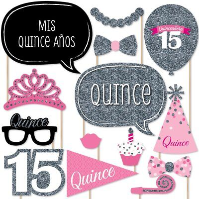 Quinceanera Pink   Sweet 15   Birthday Party Photo Booth Props Kit   20 Count