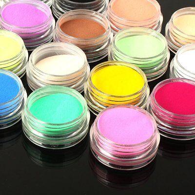 12 Mix Colors Acrylic Nail Art Tips UV Gel Powder Dust 3D DIY Decoration Set
