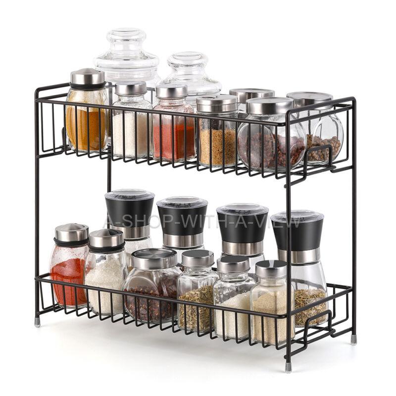 2-tier Spice Rack Kitchen Bathroom Standing Storage Organizer Spice Shelf Holder