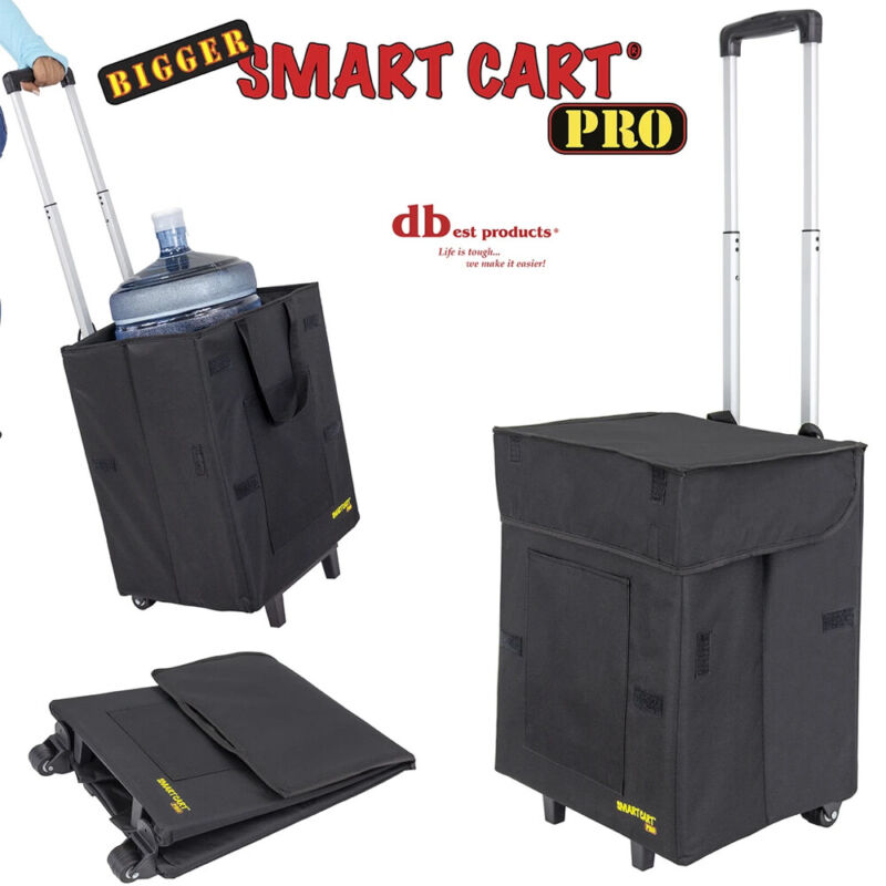 dbest products Bigger Smart Cart Pro Rolling Utility Basket, Black (Open Box)