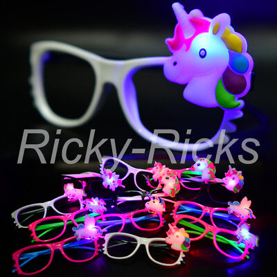 12 Unicorn Glasses Favors Light Up Flashing Party LED Unicornio Recuerdos