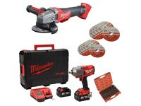 """Milwaukee M18ONEFHIWF12-502x ONE KEY Fuel 1/2"""" Impact Wrench Kit + M18CAG115 FUEL Angle Grinder Body"""