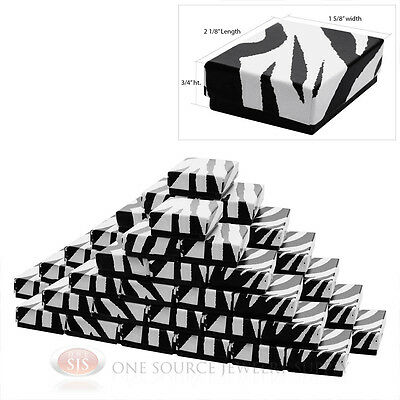 50 Zebra Print Cotton Filled Jewelry Charm Pendant Gift Boxes 2 18 X 1 58