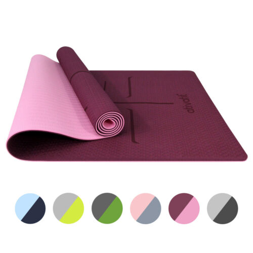 AtIVAFIT 72*24inch TPE Yoga Mat Non-slip Exercise Gym Mats with Position Line