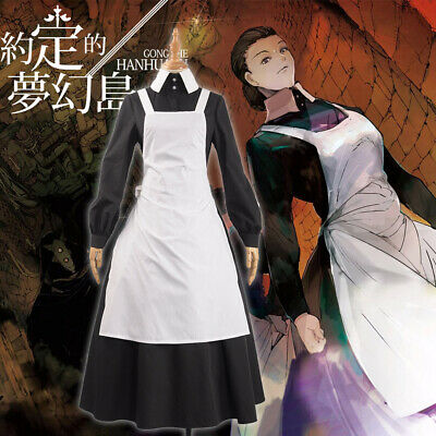 The Promised Neverland Isabella Black Skirt Cosplay Costume with Apron Custom (Isabella Costume)