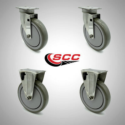 Service Caster 6 Poly Wheel 2 Swivel And 2 Rigid Stainless Casters