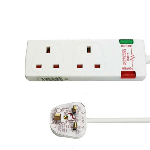 1M,2M,5M, 2 4 Gang Socket UK Mains Power Extension Lead Cable Surge Protected
