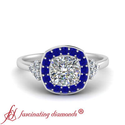 Filigree Halo Engagement Ring With 1.25 Carat Cushion Cut Diamond And Sapphire 1