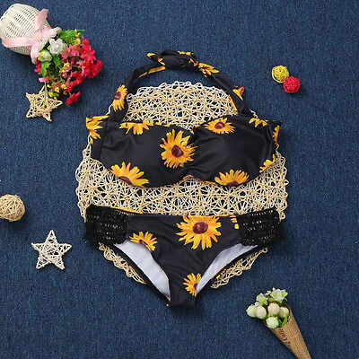 Women Bikini flower Printing bikini Two-piece Swimsuit Wire Free Beachwear mt