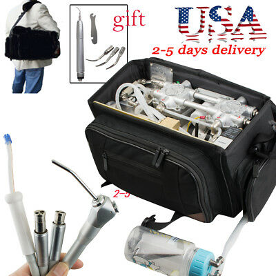 Portable Dental Turbine Unit 4h Air Compressor Suction 3 Way Syringe Black Bag