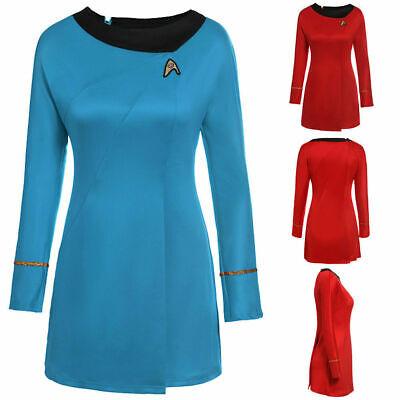 Star Trek Sternenflotten Uniform Kleid von Nyota Cosplay Kostüm Damen Rot & Blau