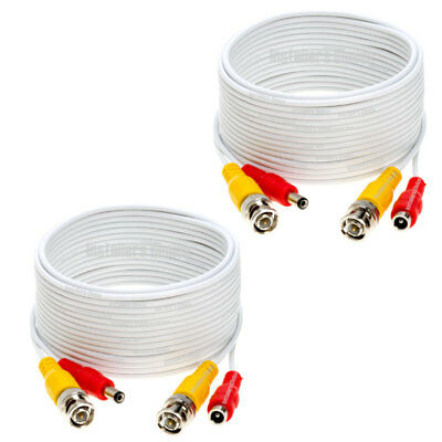 2 lot 30ft Security Camera Cable CCTV Video Power Wire BNC RCA White Cord DVR
