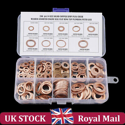 Copper Washer Set Drain Sump Plug Seal Flat Ring Fuel Hydraulic Fittings 200PCS