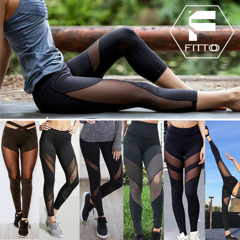 Women Sports Mesh YOGA Pants Leggings Workout Gym Fitness Ju