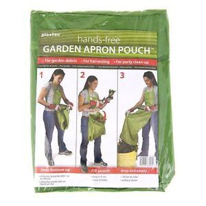 Plastec GA101GN Hands-Free Garden Apron Pouch Lawn Harvesting Bag Party Clean Up