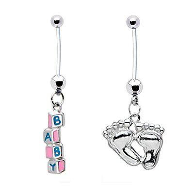 - 2 PREGNANCY Bioflex Belly Button Rings Baby Blocks + Feet 14g Navel Body Jewelry