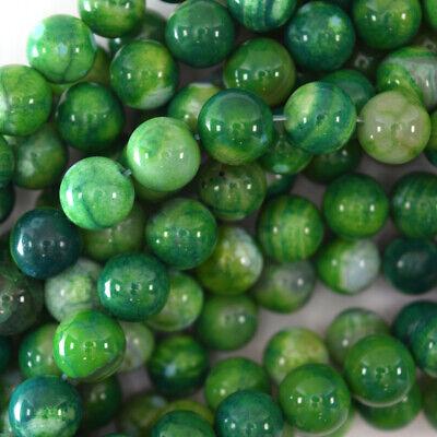 Dark Green Agate Round Beads Gemstone 15