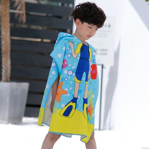Hooded Poncho Beach Summer Bath Towel for Kids Children Boys